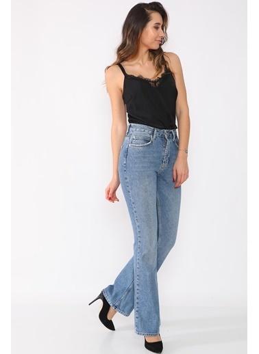Darkly Jeans Kadın Siyah 90s Vintage İspanyol Paça Jeans Mavi